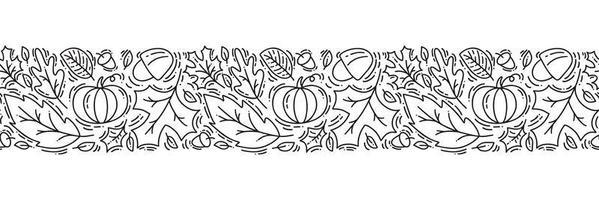 ornamento de padrão sem emenda monoline com bolotas, abóbora e folhas de carvalho de outono em preto. perfeito para papel de parede, preenchimento de papel de presente, fundo de página da web, cartão de outono, travesseiro vetor