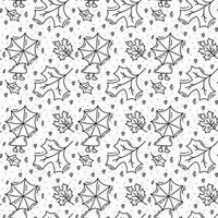 padrão sem emenda com folhas de carvalho de outono e mulher com guarda-chuva em preto. perfeito para papel de parede, papel de presente, preenchimentos de padrão, fundo de página da web, cartão de felicitações de outono, travesseiro vetor