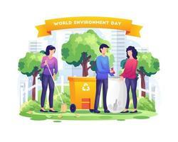 Dia mundial do meio ambiente com as pessoas jardinando e limpando a terra ilustração vetorial vetor