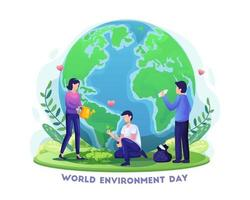 mão desenhada dia mundial do meio ambiente com pessoas jardinando e limpando a ilustração vetorial de terra vetor