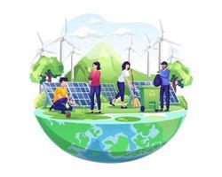 Dia mundial do meio ambiente com as pessoas cuidando da terra com jardinagem e limpeza. ilustração vetorial vetor