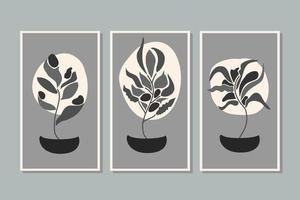 arte de parede botânica conjunto de arte de linha de folhagem desenho com forma abstrata monocromática planta de arte abstrata design para papel de parede de capa de impressão ilustração vetorial arte de parede mínimo e natural vetor