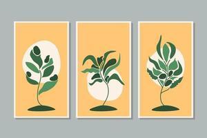 vetor de arte de parede botânica definir arte de linha de folhagem desenho com forma abstrata colorida arte de planta abstrata design para papel de parede de capa de impressão ilustração em vetor arte de parede minimalista