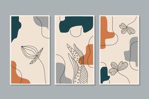 conjunto de arte vetorial botânica parede arte folhagem arte em linha desenho com forma abstrata projeto de arte de planta abstrata para papel de parede de capa de impressão ilustração vetorial arte de parede mínimo e natural vetor