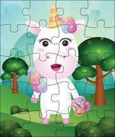 ilustração de jogo de quebra-cabeça para crianças com unicórnio fofo vetor