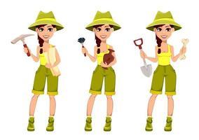 mulher arqueóloga personagem de desenho animado fofo vetor