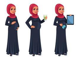 linda mulher grávida muçulmana em hijab vetor