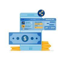ícone de design de compra de passagens aéreas online vetor