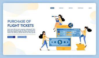 ilustração da página de destino de compra online de passagem aérea vetor