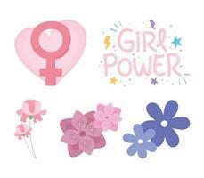 dia da mulher com flores e gênero feminino feminino vetor