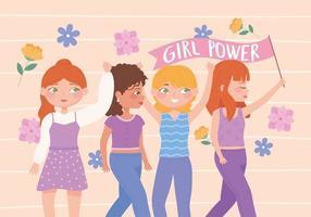 dia das mulheres, meninas, poder, feminismo, ideias, feminismo, empoderamento, mulher vetor