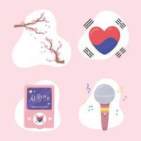 conjunto kpop coreano vetor