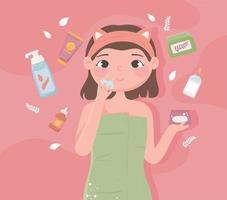 produtos para a pele para meninas vetor