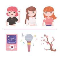 cultura kpop coreana vetor