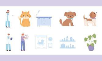 conjunto de desenhos animados veterinários vetor