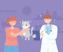 proprietário veterinário gato vetor