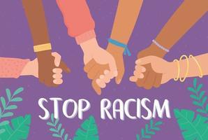mãos de diferentes raças se unindo em defesa de direitos iguais vetor