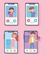 casais combinam para aplicativo de namoro relacionamento vetor
