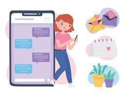 app namoro no telefone comunicação online e conexão relacionamento romântico vetor