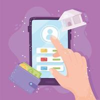 banco on-line mão smartphone touch screen app botão carteira dinheiro vetor