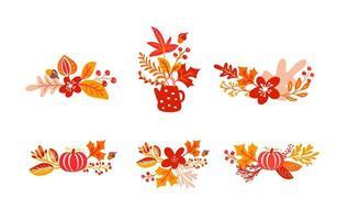 pacote conjunto de buquês de folhas de outono laranja com bule. folhas de bordo com copa, com abóbora, com folhagem de carvalho, outono natureza temporada cartaz design de ação de graças vetor