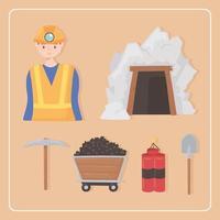 Mineração de ícones de desenhos animados vetor