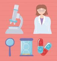 conjunto farmacêutico de nanotecnologia vetor