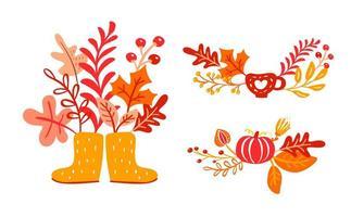 botas de borracha amarela com buquê de folhas de outono. folhas alaranjadas de bordo com copa, abóbora com folhagem de carvalho, outono natureza temporada cartaz design de ação de graças vetor