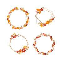 pacote de vetor moldura outono bouquet grinalda com lugar para texto. folhas de laranja, frutas e abóbora isoladas. perfeito para feriados sazonais, dia de ação de graças