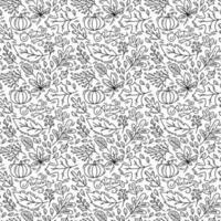padrão sem emenda com bolotas, abóbora e folhas de carvalho de outono em preto. perfeito para papel de parede, papel de presente, preenchimentos de padrão, fundo de página da web, cartão de felicitações de outono, travesseiro vetor
