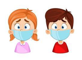 menino e menina com máscaras médicas. Proteção contra vírus vetor