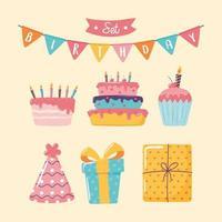 ícones de feliz aniversário vetor
