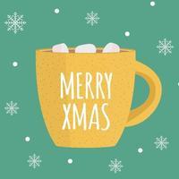 fundo de feliz natal com chocolate quente vetor