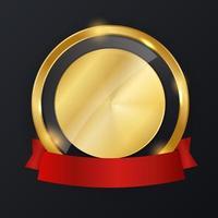 etiqueta abstrata de ouro com modelo de fita vermelha vetor