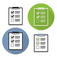 lista de verificação conjunto de coleta de ícone plano vetor