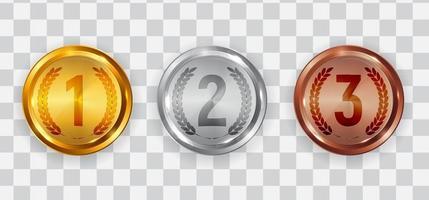 Ícones de medalha de medalha de ouro, prata e bronze do primeiro, segundo e terceiro lugar vetor