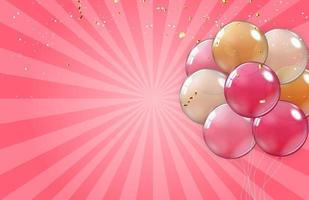 balões coloridos e ilustração vetorial de confetes em rosa vetor