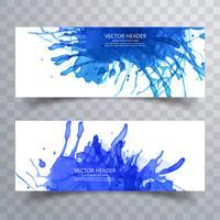 pincel de pintura abstrata azul aquarela splash cabeçalho conjunto backgroun vetor