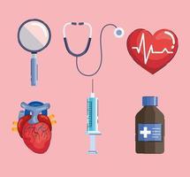 seis ícones de hipertensão vetor