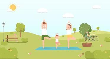 família feliz fazendo ioga na ilustração vetorial de parque. conceito de piquenique de verão vetor