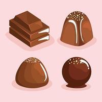 chocolate quatro produtos vetor
