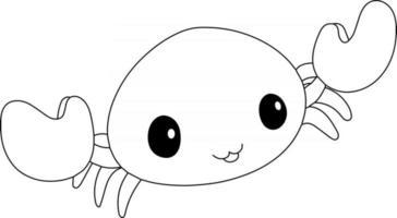 página para colorir de crianças caranguejo excelente para livro de colorir iniciante vetor