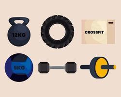 conjunto de ícones crossfit vetor