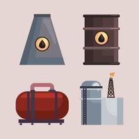 quatro ícones de fracking vetor
