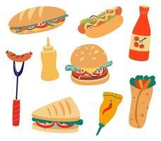 fast food definir coleção de fast food, como hambúrguer sanduíche salsicha em massa salsicha grelhada ketchup mostarda de wasabi shawarma ícone conjunto de alimentos ilustração de desenho vetorial plana vetor