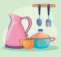 ícones de utensílios de cozinha vetor