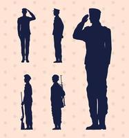 cinco soldados militares vetor
