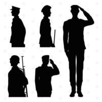 cinco silhuetas de soldados vetor