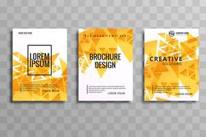 Folheto de polígono laranja criativa abstrata conjunto flyer design vetor