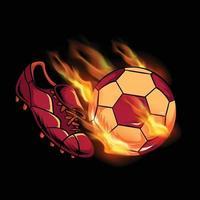 chute de bola de fogo para chuteiras de futebol vetor